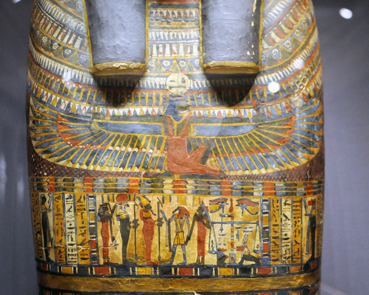 Sarcophagus Painting Decoration In Egyptian Mummy Room At